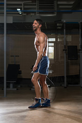 Fit Athlete Is Jumping Rope