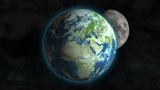 Planet Earth spinning in outer space with Moon going around it poster