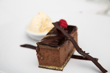 Iced Chocolate Pastry and Vanilla Ice Cream