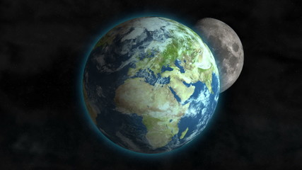 Planet Earth spinning in outer space with Moon going around it