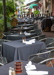 White Napkins on Black Tablecloths