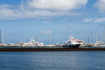 Yacht Harbor Beyond Metal Seawall
