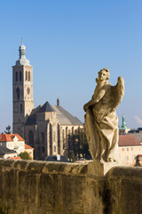 Statue of angel in historical centre of Kutna Hora