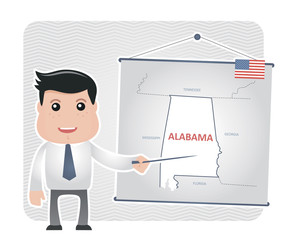Man with a pointer points to a map of ALABAMA