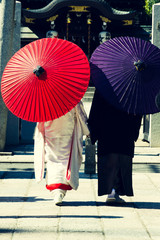 Traditional japanese wedding day, Kyoto, cross proces