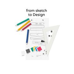 Designing website on paper - flat design illustration