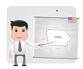 Man with a pointer points to a map of IOWA