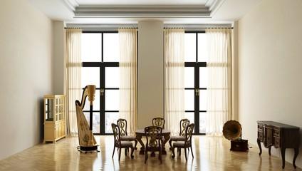 Salotto, musica, Interior 3d, rendering, tridimensionale