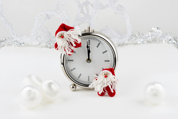 Clock and two  christmas gnomes
