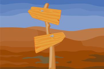 Wooden Arrow sign in the desert vector image