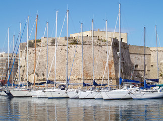 Boats in the port of Gallipoli
