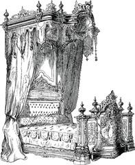 Vintage Illustration bed baldachin