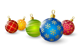 Xmas color balls on white background
