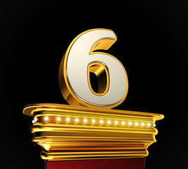Number Six on golden platform over black background