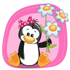 Penguin with flowers