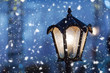 Lantern christmas blue background