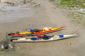 Kayaks on a Deserted Beach