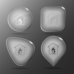 Family. Glass buttons. Vector illustration.