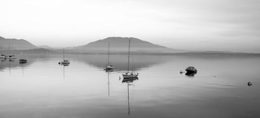 Lake Maggiore, Lesa, winter view. BW image