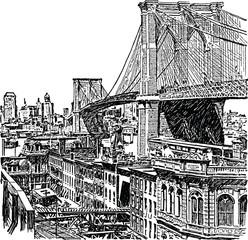Vintage graphic New York Brooklyn bridge
