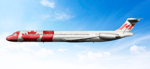 Airplane profile with fictional livery of the Canadian flag