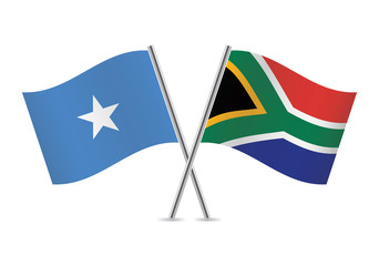Somali and South African flags. Vector illustration.