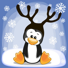 Penguin with antlers