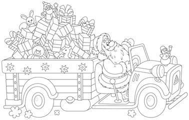 Santa carrying Christmas gifts on his truck