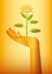 golden hand blooming