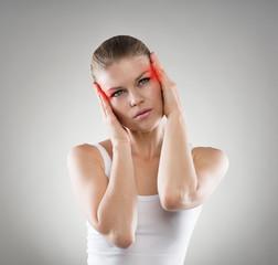 Young woman having vertigo problem or brain disease.