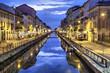 Leinwanddruck Bild - Naviglio Grande canal in the evening, Milan