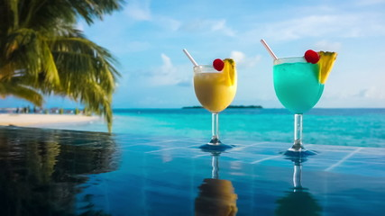 Cocktail near the swimming pool on the background  Maldive