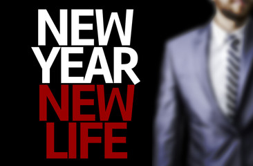 Business man with the text Great Ideas New Year New Life