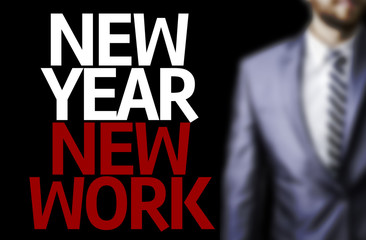 Business man with the text Great Ideas New Year New Work