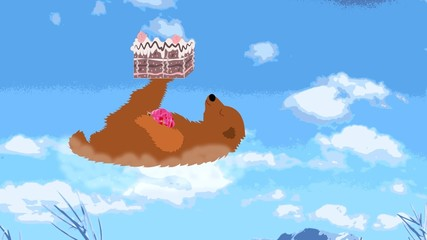 Happy bear flies on a cloud with a cake on the paw, animation