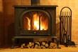 Leinwanddruck Bild - Fire burning in the fireplace