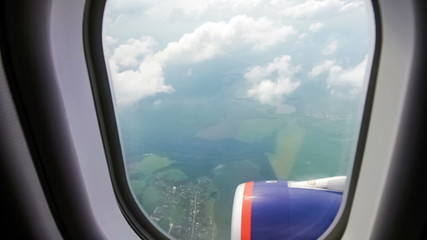 View from the airplane window at the clouds