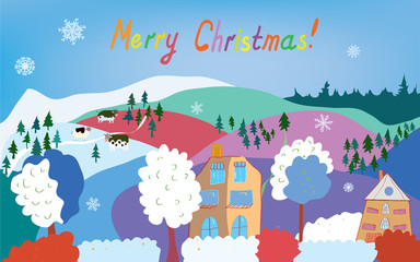 Merry Christmas card with mountain village, cows, snowflakes