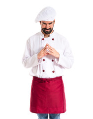 Intesenting chef over white background