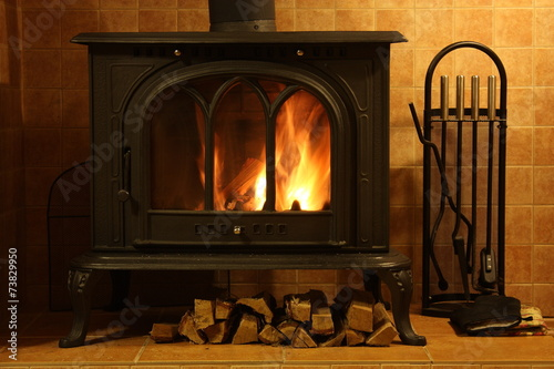 Fire burning in the fireplace - 73829950
