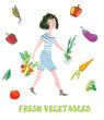 Girl and fresh vegetables card - market illustration