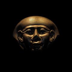 Granite sarcophage of Egyptian pharaoh in black background, 2014