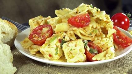 Fresh made Pasta Salad as seamless loopable 4K UHD footage