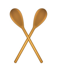 Two crossed wooden spoons