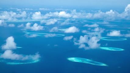 Maldives Islands aerial view.