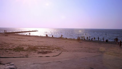 Russia. Primorsky Krai. 16 august 2014. Beach Pier with relaxing