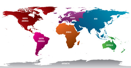 World Continents With Bold Color