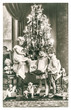 Leinwanddruck Bild - happy kids with christmas tree, gifts and vintage toys. antique