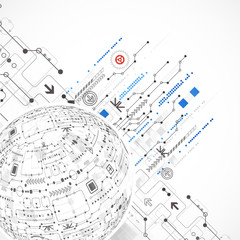 Abstract sphere technological background with various tech eleme