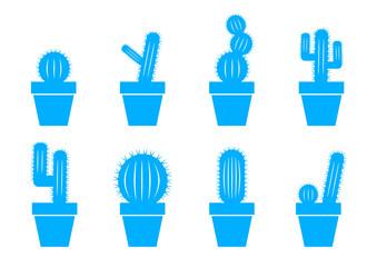 Blue cactus icons on white background
